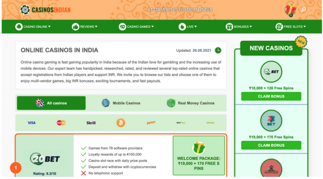 Casinosindian.com Is in the Game to Conquer the Indian Gambling Market